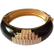 PANETTA black enameled and rhinestones cuff bracelet
