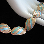 1/2 OFF!! ~ Vintage Karu Arke Turquoise Enamel and Gold Tone Bracelet ~ REDUCED!