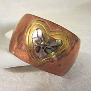 Wide Vintage Copper Cuff Bracelet with Brass and Abalone Heart ~ REDUCED!