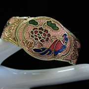 Vintage Pink Cloisonne' Butterflies and Flowers Clamper Bracelet ~ REDUCED!