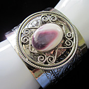 Vintage Wide Cuff and Polished Stone Bracelet ~ REDUCED!