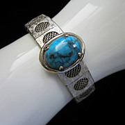 Vintage Mesh and Metal Bracelet with Faux Turquoise Cab
