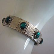 Vintage Silver Tone, Teal Green Cabochons Bracelet ~ REDUCED!