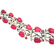Vintage (Pegasus) Coro Red Glass Leaves and Rhinestones Bracelet ~ REDUCED!!