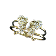 Vintage Clear Rhinestone Butterfly Clamper Bracelet ~ REDUCED!!!