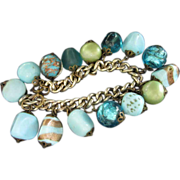 Vintage Aquamarine and Turquoise Faux Stone and Art Glass Charm Bracelet ~ REDUCED!