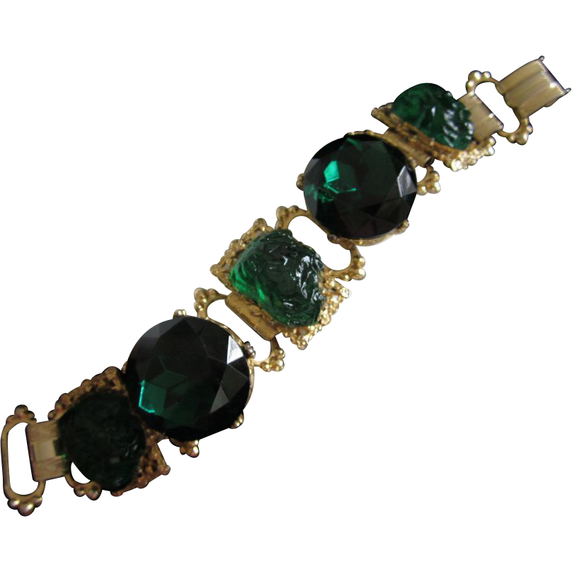 Magnificent Chunky Emerald Green Rhinestone & Molded Glass Bracelet