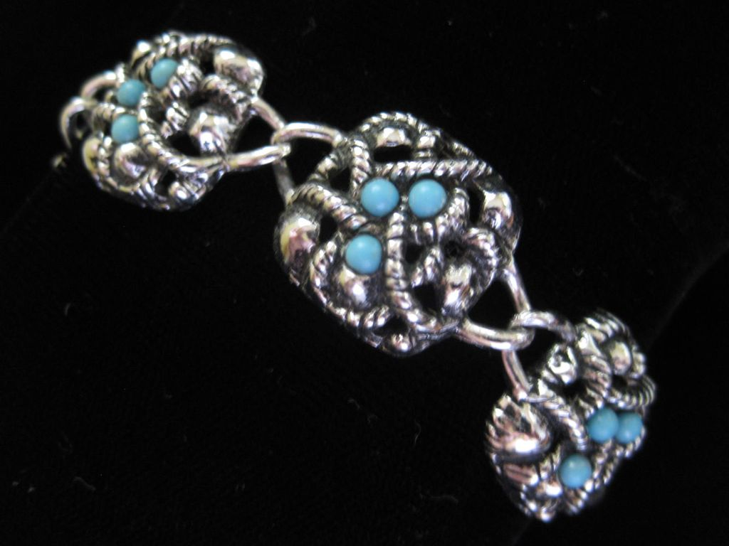 Vintage Avon Faux Turquoise and Silver Tone Bracelet ~ 50% OFF!
