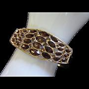 Vintage Dark Topaz Rhinestone Clamper Bracelet