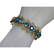 Vintage Glowing Blue Green AB Rhinestone Bracelet ~ REDUCED!