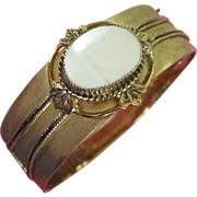 Vintage Whiting & Davis Mother of Pearl Hinged Bangle Bracelet ~ REDUCED!