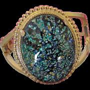 Gorgeous Foil Glass Cabochon Clamper Bracelet ~ REDUCED!
