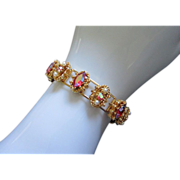 Glowing Raspberry AB Rhinestone and Faux Pearl Bracelet ~ REDUCED!!