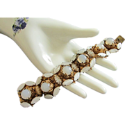 Incredible and Very Old French Opaque White Rhinestone Bracelet ~ REDUCED!