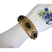 Gold Tone Clamper Bracelet with Jet Black Glass Cabochons ~ REDUCED!
