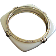 "Crown Trifari ""Shakira"" Creamy Lucite Bangle Bracelet ~ REDUCED ~"