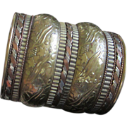 Mixed Metal Wide Brass and Copper Cuff Bracelet with Floral Motif ~ REDUCED!