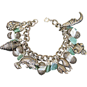 1/2 OFF! ~ Vintage Jade and Brass Oriental Charm Bracelet ~ REDUCED!!