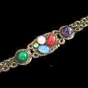Vintage Brass and Glass Cabochons Bracelet ~ REDUCED!