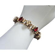 Romantic Victorian Style Ruby Rhinestones, Faux Pearls, Book Link Chain Bracelet ~ REDUCED!