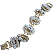 Vintage Gold Tone, White Enamel and Milk Glass Bracelet ~ REDUCED!