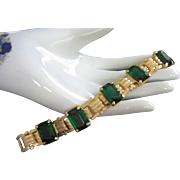 LEDO Emerald Green and Gold Tone Bracelet ~ REDUCED!