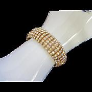 6 Brilliant Rows of Aurora Borealis Rhinestones Vintage Bracelet