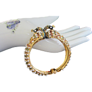 Fabulous Enamel Peacock Clamper Bracelet with Faux Pearls and Rhinestones ~ REDUCED!