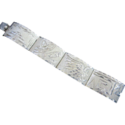 Vintage Sterling Silver Embossed Panel Bracelet Made in Mexico