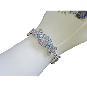 Glitzy Vintage Light Blue Rhinestone Bracelet