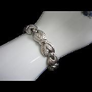 Vintage Trifari Silver Tone Leaf Leaves Bracelet