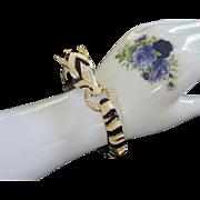 Wild Zebra Bracelet in Cream and Black Enamel, Rhinestones