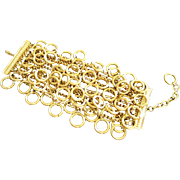 Vintage Carlisle Wide Multi Chain Bracelet with Circles ~ REDUCED!