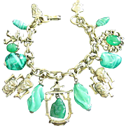 Oriental Themed Brass Charm Bracelet with Faux Jade Buddha, Art Glass