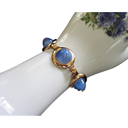 Jeray Signed Rice Weiner Blue Star, Gold Tone Bracelet