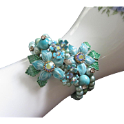 Turquoise Enamel Flowers Memory Wire, Coil Bracelet