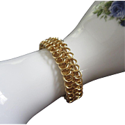 Vintage Goldette Gold Tone Loops and Mesh Bracelet ~ REDUCED!