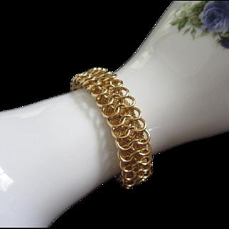 Vintage Goldette Gold Tone Loops and Mesh Bracelet