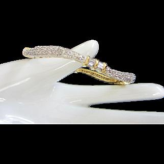 Wavy Clear Rhinestone and Baguette Bangle Bracelet