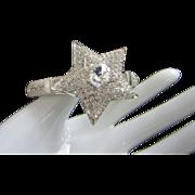 Glittering Clear Rhinestone Star and Mesh Clamper Bracelet