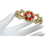 Vintage Ruby and Clear Rhinestone Clamper Bracelet
