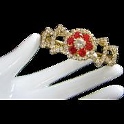 Vintage Ruby and Clear Rhinestone Clamper Bracelet