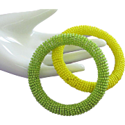 Vintage Seed Bead Bangle Bracelets in Lime Green and Lemon Yellow