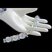 Vintage Coro Blue Green Iridescent Glass Flowers Bracelet