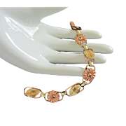 Yellow and Rose Gold Filled Flower Bracelet, signed Probst USA