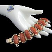 Chunky Paprika Confetti Lucite Faux Goldstone Bracelet