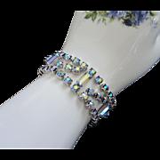 Shimmering Blue Green Aurora Borealis Rhinestone Bracelet