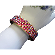 Vintage Raspberry Aurora Borealis Rhinestone Clamper Bracelet