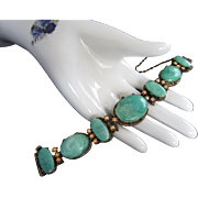 Chunky Marbled Green Lucite and AB Rhinestone Vintage Bracelet