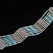 Vintage Faux Turquoise and Silver Tone Southwestern Style Bracelet